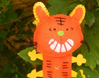 """Red cat"" felt finger puppet Orange"
