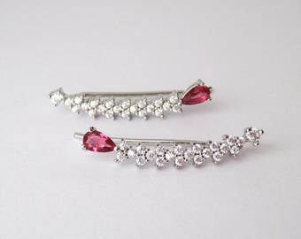 Rock these ankle cuff Pink Silver 925/1000 and zirconium CZ earrings