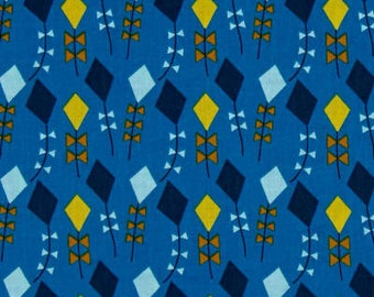 ORGANIC COTTON Kites - Navy - by Cloud9/Organic Cotton/Fabric/Quilting/Sewing