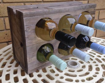 Wine rack, freestanding, reclaimed wood up to 6 bottles