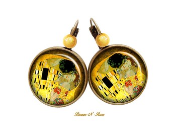 These earrings the kiss Gustav Klimt painting retro vintage earrings yellow table