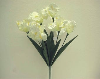 "CREAM Iris Bush 8 Satin Artificial Silk Flowers 22"" Bouquet 6109CR"