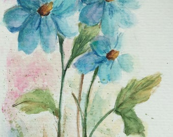 Blue Flowers greeting card/Watercolor Card/Floral greeting card/5 x 7 greeting card/Card and Envelope/Blank greeting card/Watercolor flowers