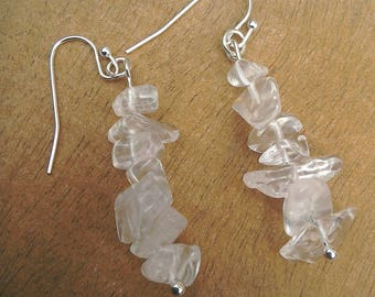 Clear Rock Quartz chip earrings