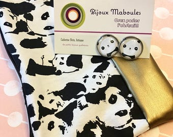 Duo of Quebec artists , panda earrings , pencil case or make up case