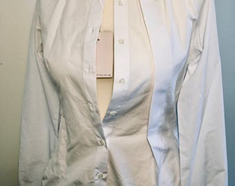 Vintage Palmer// Harding white button up blouse women's 10 large made in England