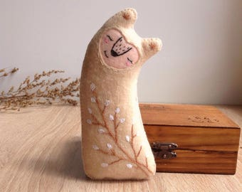 Forest creature toy with embroidery   / plush toy
