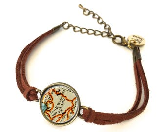 Poland Map Bracelet - Created from a 1937 map. Map Jewelry, Map Bracelet, Custom Bracelet, Custom Jewelry, Personalized Map Jewelry