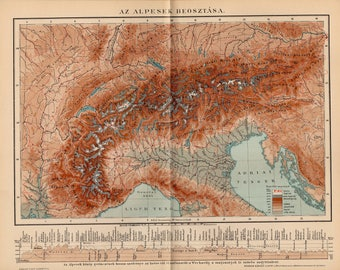 Antique relief map of the Alps from 1893