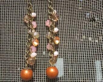 Beaded Copper and bling Earrings