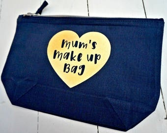Mums make up bag personalise love heart cosmetic bag case