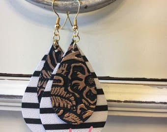 Layered Leather Earrings - Black and White Stripe