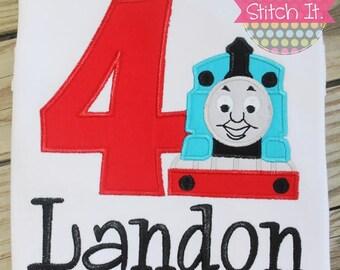 Thomas the Train appliqued birthday shirt or bodysuit - Birthday - Birthday Party