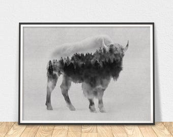 Bison Poster - Printable Art, Black And White Art, Bison Decor, Misty Forest, Nature Art, Silhouette Art, Black White Bison, Buffalo Print