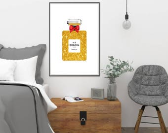 Chanel No 5 Perfume Bottle- Gold Glitter Printable Wall Art -Poster Print - 8x10 -Gifts - INSTANT DOWNLOAD Poster Decor