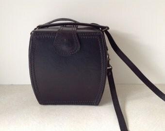Vintage Black Leather Box Purse