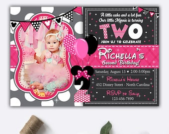 Minnie Mouse Invites Etsy - Minnie mouse birthday invitation images