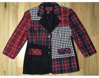Vintage Wool PLAID Jacket HOUNDSTOOTH Blazer