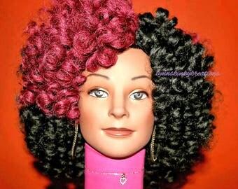 """READY TO SHIP  //Synthetic handmade crochet wig """" Kinky Bounce """""""
