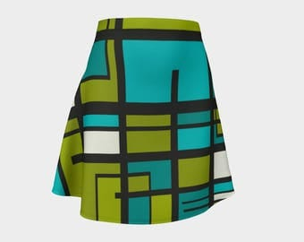 Retro, Skirt Green,Gift, For Her, Wife Gift, Womens Skirt, Gift, Geometric,Turquoise, A-Line Skirt, Womens Gift, Unique, Gift for Women