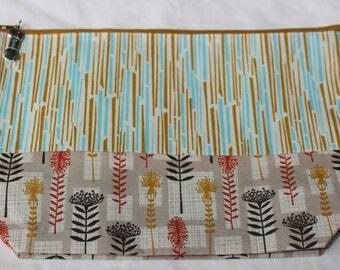 Zippered project bag - zipper pouch - knitting bag - sock knitting bag