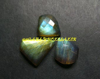 3 Pcs - Natural Labradorite One Side Checker Cut Fancy Cabochon - 11-16 MM - Labradorite Cabochons - High Quality - Wholesalegems