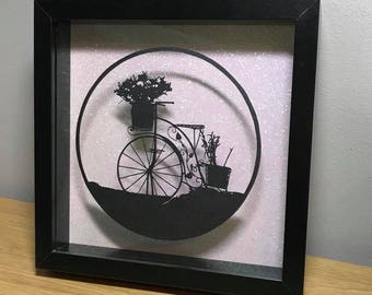 Vintage Rustic Bike template, paper cutting
