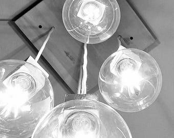 5 Oak Bulbs chandelier Shabby