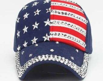 American Flag Americana Patriotic Baseball Bling Rhinestone Trucker Cap Hat