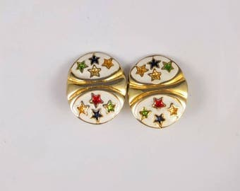 Big Vintage Star Earrings - Gold Tone And White Enamel Ovals With Multi-Coloured Stars, Vintage Clip On Earrings, Big 1980s Earrings
