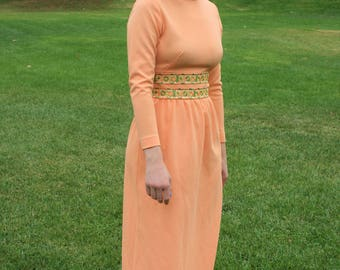 Vintage 1960's Peach Embroidered Long Sleeve Maxi Dress
