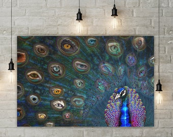 All Seeing Eye Peacock Canvas Wall Hanging  Trippy Feather Decor  Mystical  Eye Design