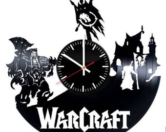 Warcraft Vinyl Wall Clock Handmade Wall Art Room Decor Party Supplies Decoration Theme Birthday Gift For Adults Kids Vintage Style
