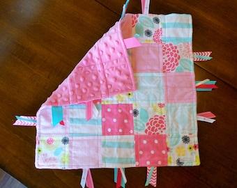 Pink & Aqua Floral Baby Tag Blanket