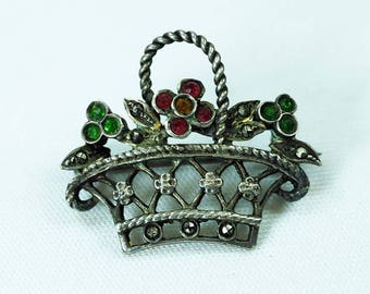 Antique Silver Basket Brooch Circa 1900