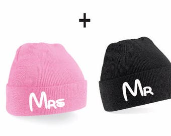 Mr Mrs Couple Beanies - Couple beanie, Beanie Set, Beanies, Beanie,Couple Sweatshirts, Couple Shirts,  Couple Gift, Couple Hats, Friend Gift