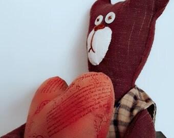 Interior doll, handmade doll, fabric doll, Rag doll, cloth doll, soft toy,  OOAK doll, Stuffed toy, animal toys, Lovely Bear