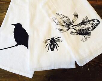 Flour Sack Towel Koi print - Black fish print tea towel - Screen print tea towel