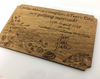 Beach Themed Save the Date Wooden Fridge Magnet, Personalised and made from Beautiful British Oak (Hand Finished).
