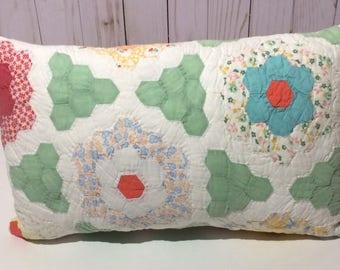 Vintage Quilt Pillow, Grandmother's Garden Quilt Pillow, Grandmother's Garden, Quilt pillow, vintage quilt