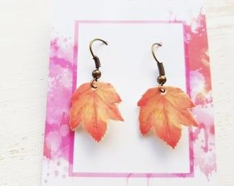 Leaf earrings maple leaf earrings leaf jewellery autumn leaves jewelry nature earrings jewellery leaf dangle earrings maple leaf earrings