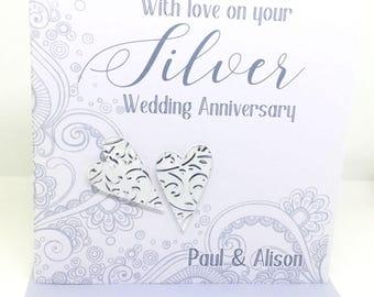 Personalised Handmade Silver Wedding Anniversary Card (25 years)