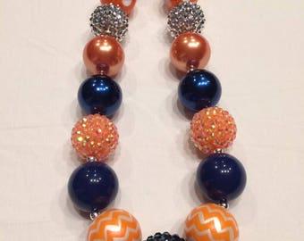 Chunky bead necklace Nitro orange blue silver