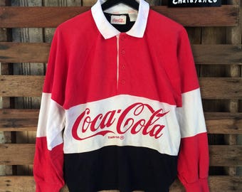VINTAGE rare 90s coca cola collar multicolour longsleeve shirts biglogo spellout !!