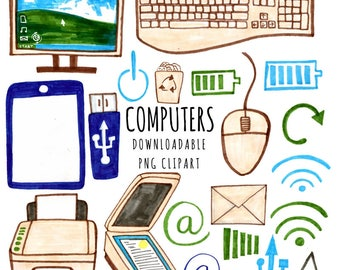 Computer Clipart, Technology Clipart, School Clipart, Downloadable Clipart