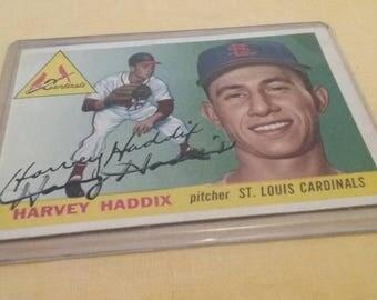 Signed Harvey Haddix, 1955 baseball card
