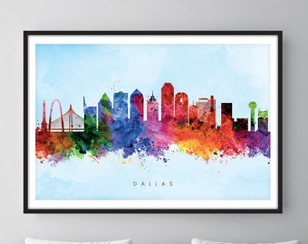 Dallas Skyline, Dallas Texas Cityscape Art Print, Wall Art, Watercolor, Watercolour Art Decor