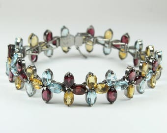 Art Deco Style Sterling Silver Citrine, Garnet and Topaz Bracelet