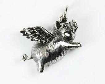 Boho Style Sterling Silver Flying Pig Pendant