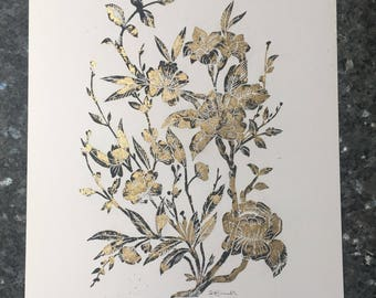 Oriental lino print flowers with a gold leaf finish